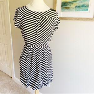 J. Crew White and Black Stripe Dress with Pockets